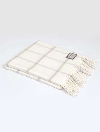 Lambswool Throw - Beige White Windowpane