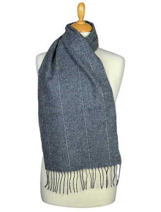 Lambswool Scarf - Grey Pinstripe
