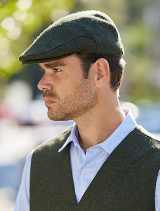 Donegal Tweed Flat Cap - Green Fleck