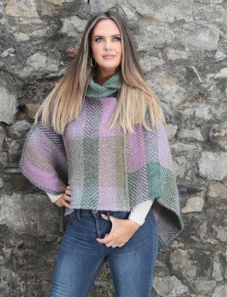 Shawl Collar Herringbone Poncho - Multi Loden