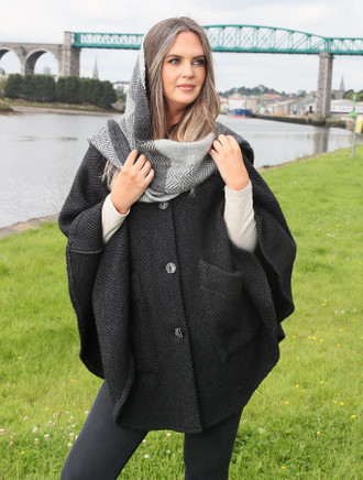 Tina Hooded Swing Cape - Natural Black