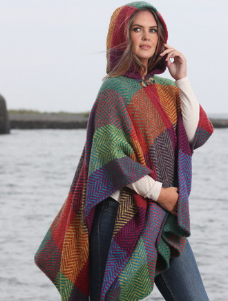 Sarah Hooded One Button Cape