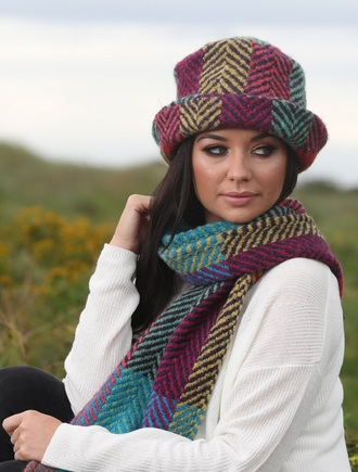 Wool Country Scarf - Multi-Light Green