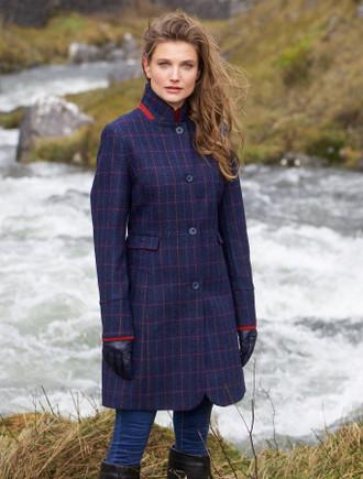 Pamela Tweed Coat - Primary Navy