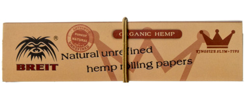 Breit Organic King Size Slim rolling papers with tips.