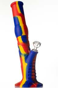 Silicone Gripper Bong - Blue/Yellow/Red.