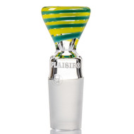 Plaisir Spiral Glass Cone 18.8mm - Aqua and Yellow.