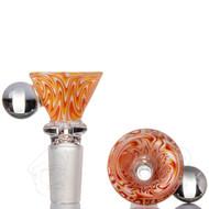 Marble Wig Wag Glass Cone 14mm - Orange.