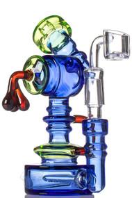Blue Inline Perc Quartz Dab Rig.