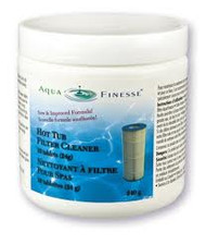 AquaFinesse filter cleaner tablets (240g, 10 tablets).   To maximize the enjoyment of your Aquafinesse water care products, it is essential to keep your filters clean, and to do this we recommend cleaning your filters at least once a week.  We have developed a specially formulated filter cleaning tablet to better assist you with this process and keep your filters in optimal condition.     FREE SHIPPING in Canada on orders OVER $85!  Hot Tub Filter Cleaner Tablets Filter Cleaner tablets help keep filters working at their optimal level. Cleans cartridge filters in a fraction of the time it takes conventional cleaners. No overnight soaking required. Individually wrapped tablets for safe handling and no mess.  Environmentally friendly.  Packaged in jars containing 10 tabs