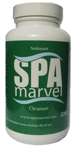 Spa Marvel Cleanser (226g). Spa Marvel Cleanser is a fast acting proprietary cleanser that penetrates deep inside your spa's plumbing and equipment, removing organic, mineral and chemical contaminants. Cleanser is used to purge your spa of biofilm to prepare it for Spa Marvel.  FREE SHIPPING on orders OVER $85!!
