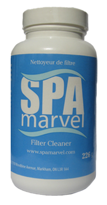 Spa Marvel Filter Cleaner (226g). Spa Marvel filter cleaner is a powerful, deep cleanser designed to remove oils, hair, dirt and grime that gets trapped in the fabric of cartridge filters without the use of bleach or harsh acids.  FREE SHIPPING on orders OVER $85!!
