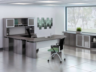Medina Executive Office Gray Steel Laminate