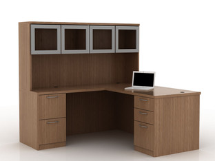 OFW TL L-Shape Desk with Glass Hutch BBF & FF 30x66