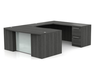 OFW VL U-Shape Desk with Glass Modesty