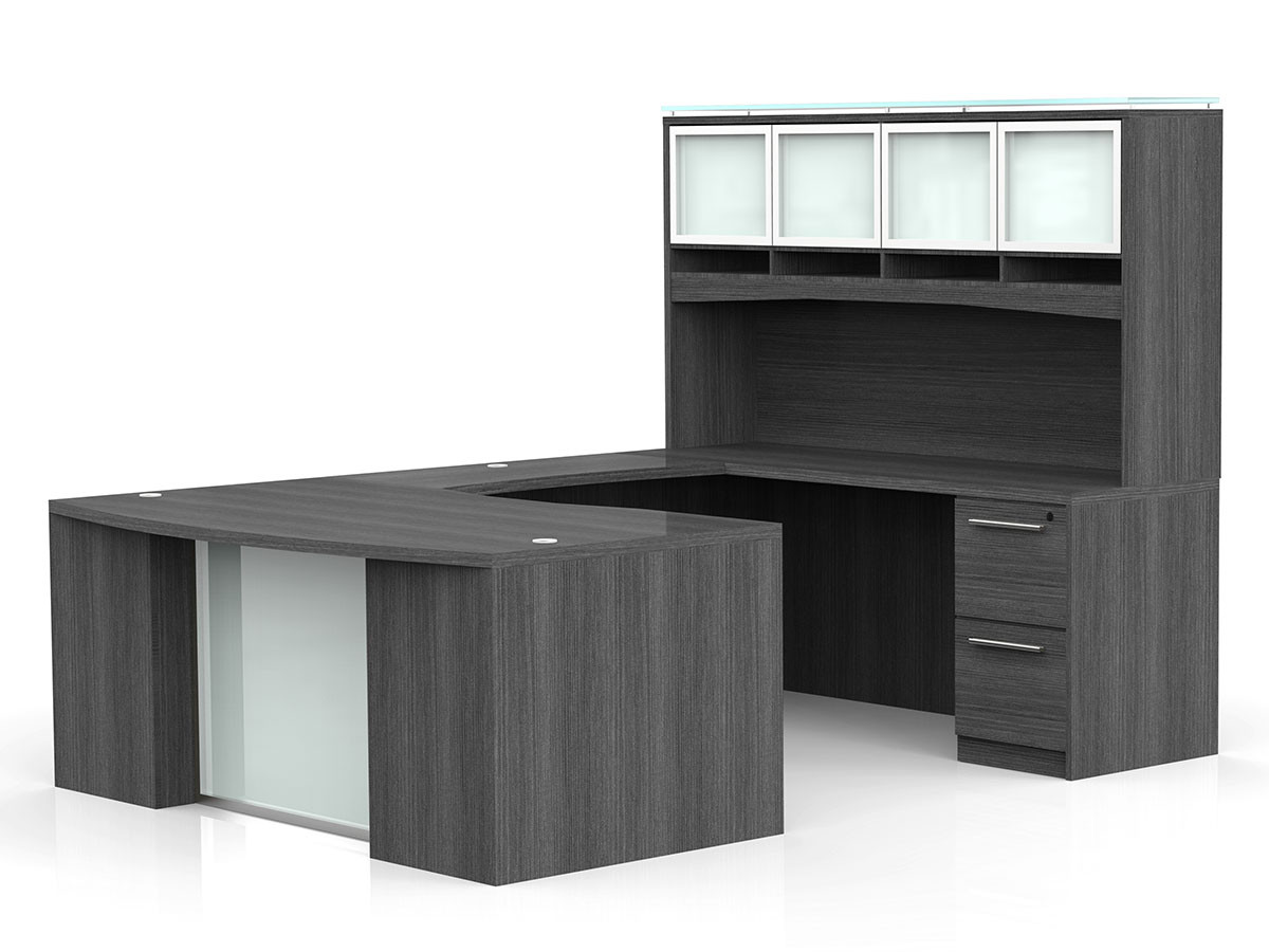 Pleasant Ofw Vl U Shape Desk With Glass Modesty And Hutch Office Download Free Architecture Designs Grimeyleaguecom