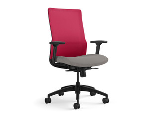 Novo highback task chair, fire mesh, SitOnIt Seating Slide Fog, black frame, black lumbar, fire adjustable lumbar accent