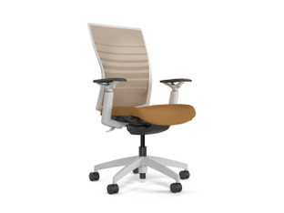 Torsa task chair, Desert stripe mesh, Momentum Silica Canyon, white adjustable arms, back support, frame & base