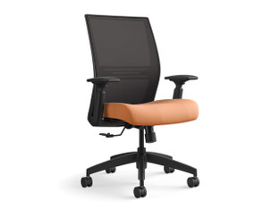 Amplify highback task chair, Maharam Pick 006, onyx mesh, black frame, adjustable arms, black base