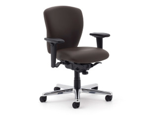 Non-Stop Heavy Duty chair, SitOnIt Seating Element Brownstone, adjustable arms, brushed aluminum base