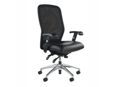Leader Knit Back chair, Black knit, Spinneybeck Volo Black, adjustable arms, polished aluminum base