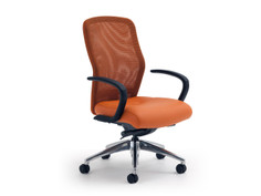 Leader Knit Back chair, Orange knit, Momentum Silica Marigold, loop arms, polished aluminum base