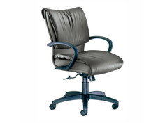 Glove Executive midback chair, Spinneybeck Volo Deep Olive, loop arms, black base