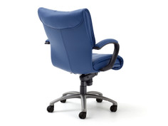Glove Executive midback chair, Greenhides Sierra Ocean, loop arms, brushed aluminum base