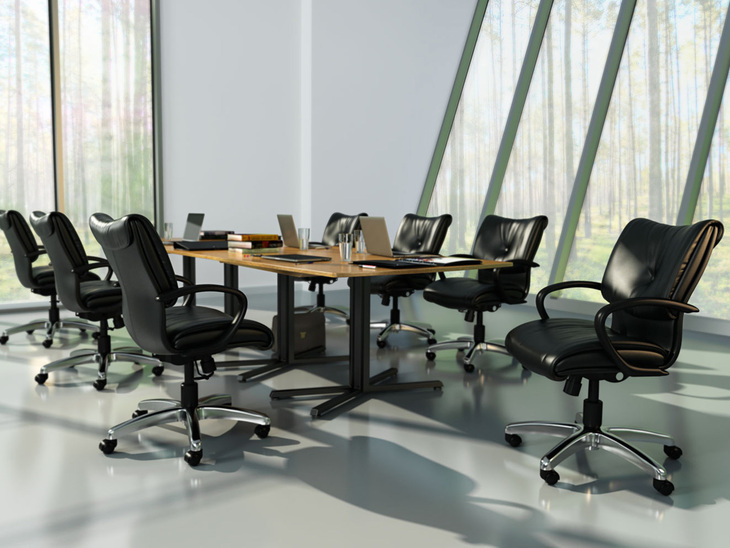 Glove Executive mighback task chair, Green Hides Rally Black, brushed aluminum base, fixed arms