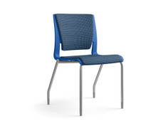 Rio multipurpose chair, blue shell, fully upholstered, SitOnIt Seating Code Blue, silver frame fiinish