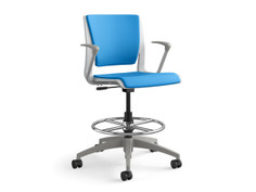 Rio task stool, sterling shell, fully upholstered, SitOnIt Seating Pop Electric Blue, fog base & arms