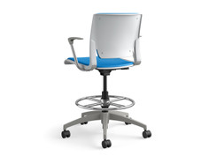 Rio task stool, sterling shell, upholstered seat, SitOnIt Seating Pop Electric Blue, fog base & arms