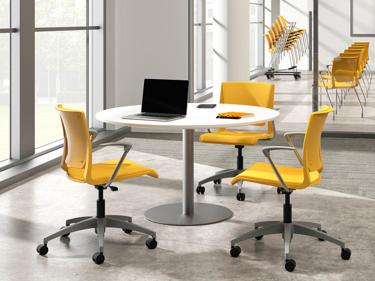 Rio light task chairs and side chairs, honeycomb shell, upholstered seat, Momentum Odyssey Dijon, silver frame finish, fog base & arm pads