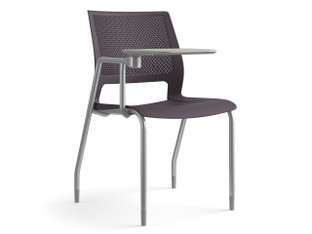 Lumin multipurpose chair, plum shell, silver finish, tablet