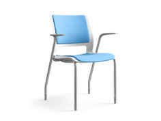 Lumin multipurpose chair, frost shell, fully upholstered, SitOnIt Seating Pop Ocean, silver frame finish, fog arm pads