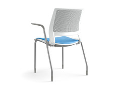 Lumin multipurpose chair, frost shell, SitOnIt Seating Pop Ocean, fully upholstered, silver frame finish, fog arm pads