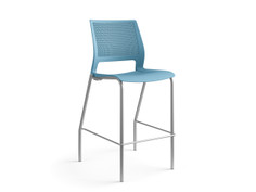 Lumin café stool, lagoon shell, upholstered seat, SitOnIt Seating Pop Ocean, silver frame finish