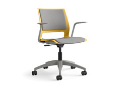 Lumin light task chair, honeycomb shell, fully upholstered, SitOnIt Seating Pop Nickel, silver frame finish, fog base & arms