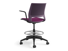 Lumin light task chair, plum shell, fully upholstered, SitOnIt Seating Pop Grape, black base, frame finsih and arm pads