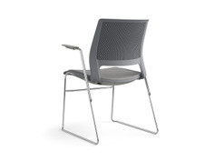 Lumin wire rod chair, slate shell, upholstered seat, SitOnIt Seating Pop Nickel, chrome frame finish, fog arm pads