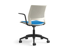 Lumin light task, pebble shell, fully upholstered, SitOnIt Seating Pop Electric Blue, black base, frame & arm pads