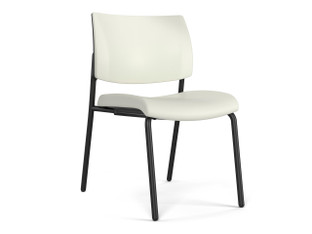 Focus Side chair, SitOnIt Seating Element Snow, upholstered seat and back, black finish