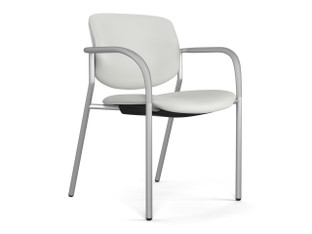Freelance side chair, Green Hides Sierra White leather, silver frame