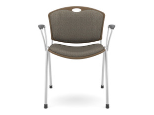 Anytime chair, chocolate shell, SitOnIt Seating Cosmos Asteroid, silver frame