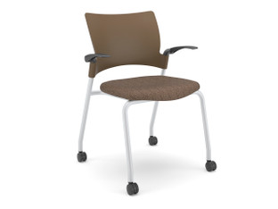Relay side chair, chocolate shell, SitOnIt Seating Panorama Coffeehouse, silver frame