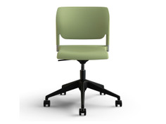 InFlex light task chair, sage shell, armless, silver frame finish, black base