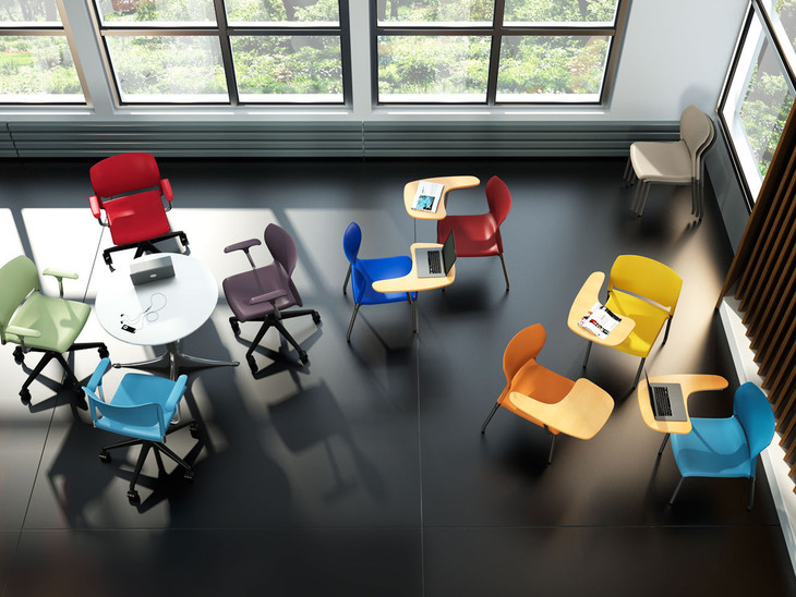 InFlex light task chairs, InFlex multipurpose chairs with tablet arms- Classroom
