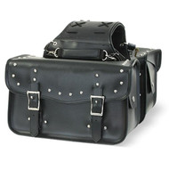 "14"" W WATERPROOF STUDDED SADDLEBAGS ZIP-OFF 2PC - D19"