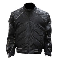 BLACK MENS ARMOR LEATHER BIKER MOTORCYCLE JACKET - D48