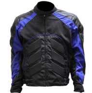 BLUE MENS ARMOR LEATHER BIKER MOTORCYCLE JACKET - D49